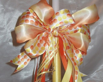 "15"" Embellished  Special Occasion Candle - Orange, Yellow Polka Dots- Orthodox Baptism Wedding"