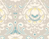 LAST 5/8 Yard Taza Fabric / Dena Designs / MEDALLION in GREY /Cotton Quilt Fashion Fabric