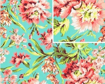 LOVE  Bliss Bouquet in Teal by Amy ButlerFabric  1 yard Love Collection /  Bliss Bouquet in Teal -- Quilt Fabric