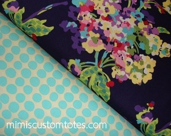Amy Butler Love Water Bouquet in Midnight, Sunspots in Turquoise, 1 yard a Quilting Cotton fabric , Apparel Fabric