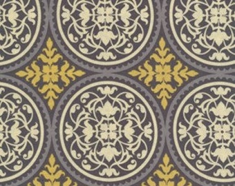 Joel Dewberry Fabric /  Scrollwork  in Granite /  AVIARY 2 / Cotton Quilt Fabric 1 yard