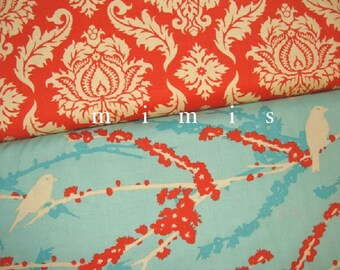 Damask in Saffron & Sparrows in Aqua  Joel Dewberry AVIARY 2  Cotton Quilt Fabric 1 yard