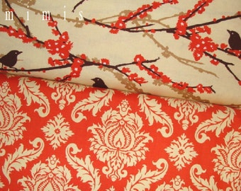 Joel Dewberry Fabric / AVIARY 2 Collection / Damask in Saffron & Sparrows in Bark -  Cotton Quilt Fabric 1 yard