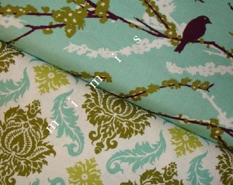 Joel Dewberry Fabric / Damask in Dill  & Sparrows in Plum / AVIARY 2 /  Cotton Quilt Fabric 1 yard