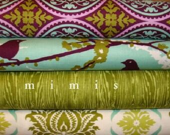 AVIARY 2  Joel Dewberry 4 Half Yard Pack  Aqua Dill  Cotton Quilt Fabric