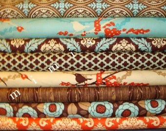 AVIARY 2 / Joel Dewberry Fabric / 8 Half Yard Bundle /  Bark / Cotton Quilt Fabric