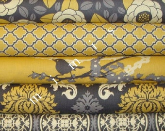 Bundle AVIARY 2  Collection / Joel Dewberry Fabric 5 Half Yard Bundle /  Vintage Yellow  Cotton Quilt Fabric
