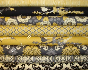 Yard Bundle / AVIARY 2 / Joel Dewberry Fabric / 8 Full Yards - Vintage Yellow  Cotton Quilt Fabric