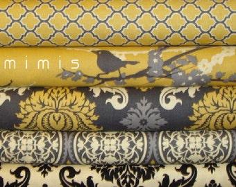 YARD BUNDLE / AVIARY 2  / Joel Dewberry Fabric / - Vintage Yellow  Cotton Quilt Apparel Fabric