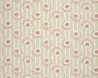 Roses Stripe in Green / Barefoot Roses by Tanya Whelan / 1 Yard Quilt Apparel Fabric