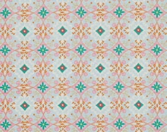 Gracie in Blue / Baby Blue ,Pink, Turquoise / 1/2 yard/ Pretty Little Things  by Dena Designs Cotton Quilt Fashion Fabric