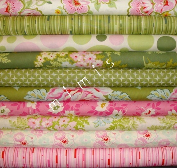 Nicey Jane by Heather Bailey, KISSING BOOTH 2, 10 Half Yard Bundle Quilt Fabric