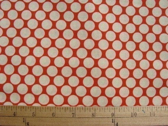 1/2 yd Amy Butler Fabric /  Full Moon Dots in Cherry Red / Cotton Quilt Fabric