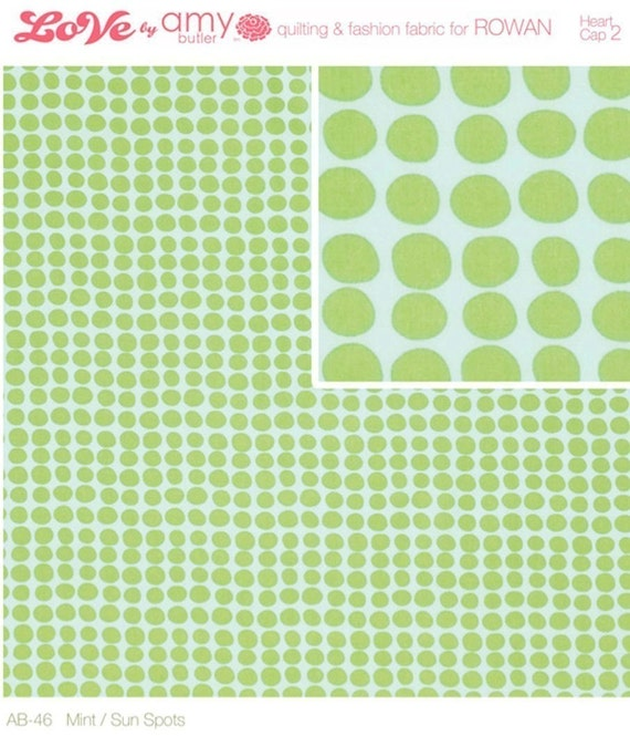 Amy Butler Fabric / Sunspots in Mint /  1 yd Quilt Apparel Fabric Love Collection