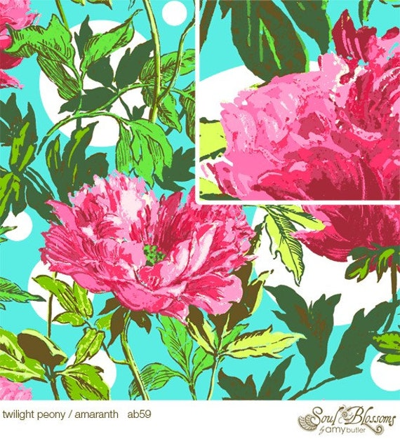LAST 3/4 Yard Soul Blossoms / Amy Butler Fabric /  Twilight Peony in AMARANTH -  Quilt Fabric