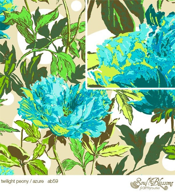 Soul Blossoms Amy Butler TWILIGHT PEONY in AZURE 1  Yard Quilt Fabric