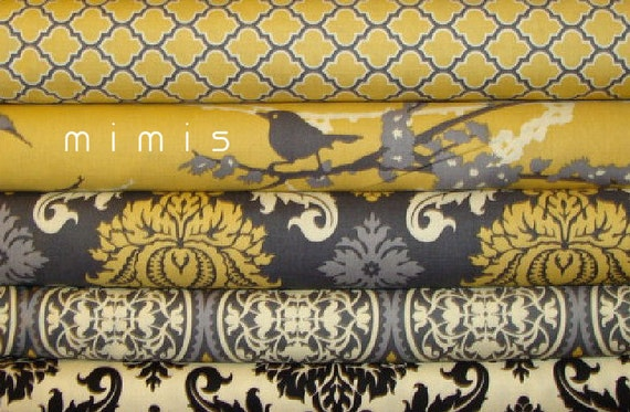 AVIARY 2  / Joel Dewberry Fabric / 5 Half Yard Pack - Vintage Yellow  Cotton Quilt Fabric