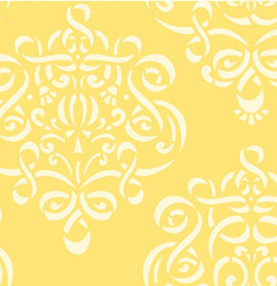 LAST 5/8 yard / RIBBON DAMASK /  Yellow / Taza by Dena Designs- Cotton Quilt Fashion Fabric