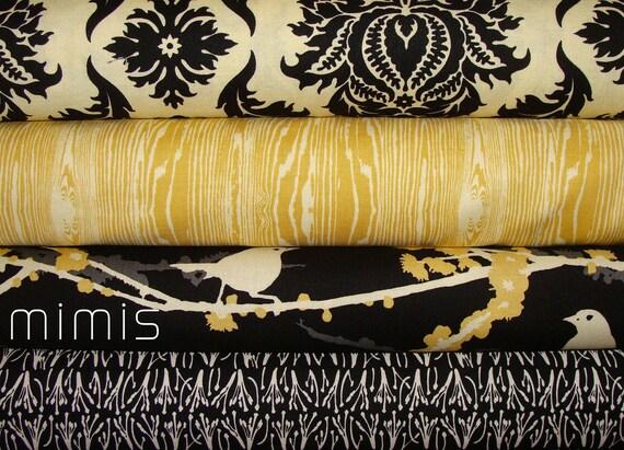 AVIARY 1 & 2 Collection / Joel Dewberry Fabric  4 Half Yard  Bundle / Vintage Yellow / Cavern - Cotton Quilt Fabric