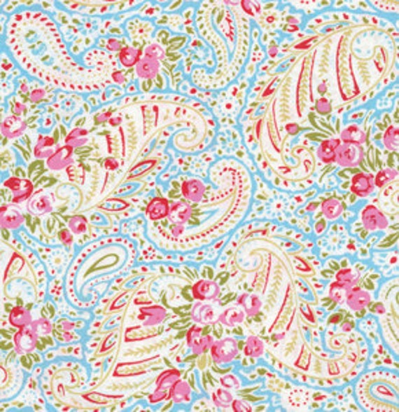 Paisley in Blue / Tanya Whelan Fabric / DELILAH Collection - 1 Yard Cotton Quilt Apparel Fabric