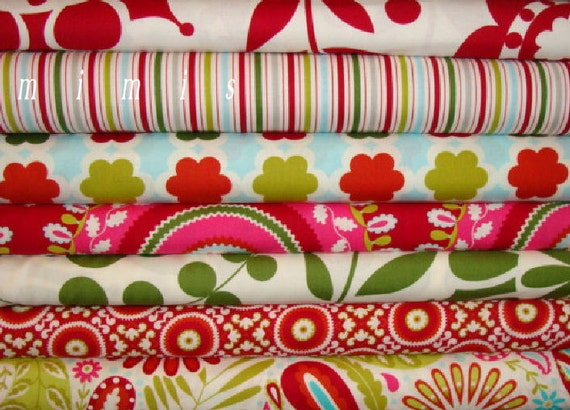 SALE Dena Designs Fabric / Kumari Garden Holiday 7 Half Yard  Bundle - Cotton Quilt Fabric