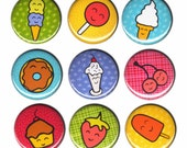 SALE Happy Sweets Pin Set of 9 One Inch Pinback Buttons