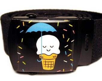 It's Raining Sprinkles Black Canvas Belt