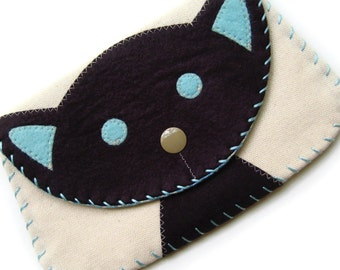 Large Black Cat Snap Wallet