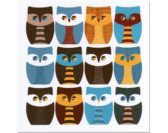 Owls Flat Note Card Set of Eight