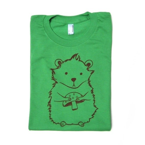 SALE Green Hamster Screen Printed Womens T-shirt - WOMENS LARGE - Last One