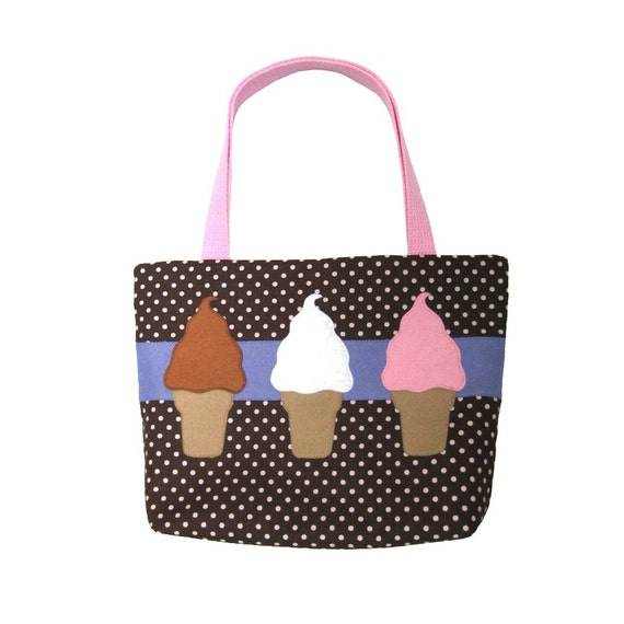 Soft Serve Ice Cream Trio Tote Bag Purse