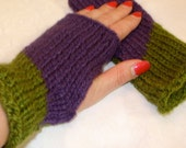 Handmade Knit Gauntlets Fingerless Gloves Acrylic Purple Violet Green Warm NEW FREE SHIPPING