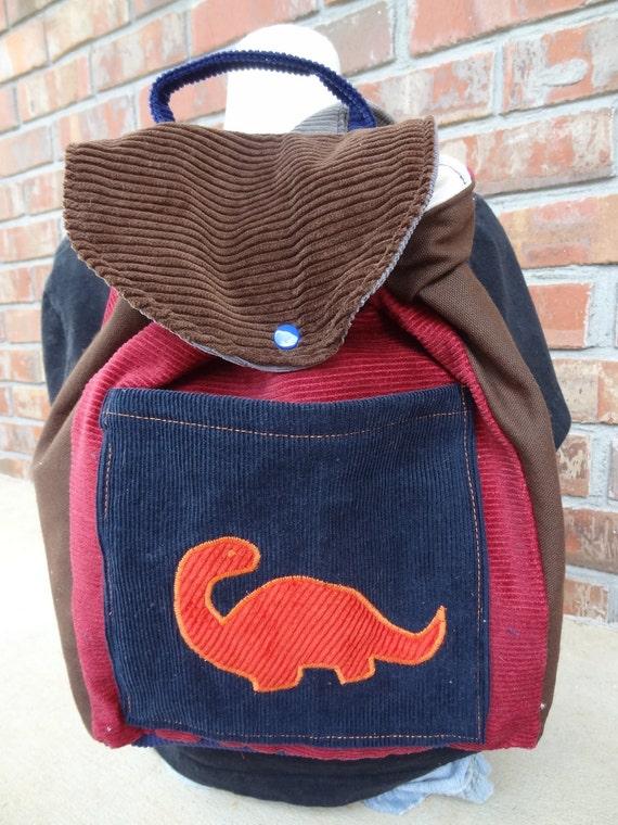 Big Kid Sized Backpack -- ORANGE DINOSAUR