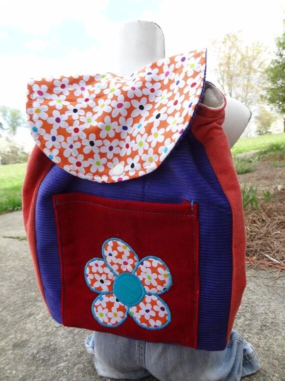 Toddler Sized Backpack -- FLOWER POWER
