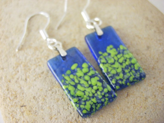 Glass Earrings, Fused Glass earrings, glass jewelry - Lime and Blue