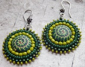 Lush .. Bead Embroidered and Polymer Clay Earrings