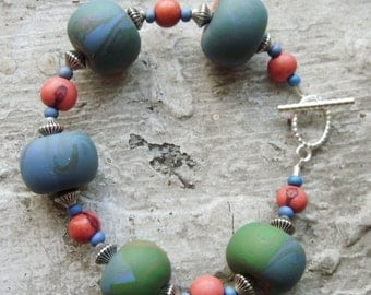 Soft and Chunky Polymer Clay Bead  Bracelet