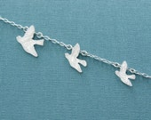 Flying birds necklace - matte silver