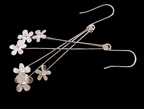 three blossom earrings - sterling silver