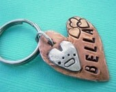 HEARTS and HUGS Pet Id Tag - hand stamped antiqued copper and sterling silver - custom personalized for your furry friend