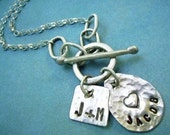 Charmlets - Hand Stamped custom personalized sterling silver charm necklace w front toggle. YOU CHOOSE letters. Names
