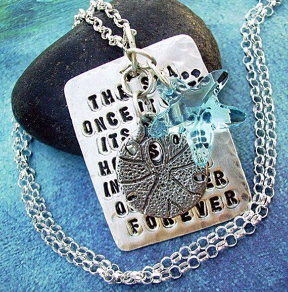The SEA Sterling Silver SCRIPTZ Hand-Stamped Poem Charm Necklace with Starfish and Sanddollar Charm Dangle.. Ready To Ship