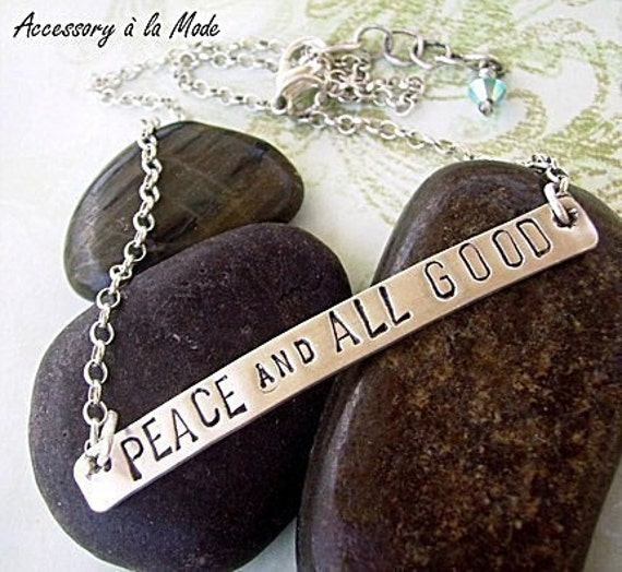 Hand Stamped personalized custom Sterling Silver Choker Necklace You choose phrase. names. or words