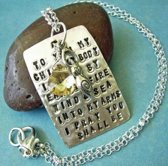 Fertility Goddess Scriptz - Hand Stamped Poem Charm Necklace with Briolette and Goddess Charm Dangle READY TO SHIP