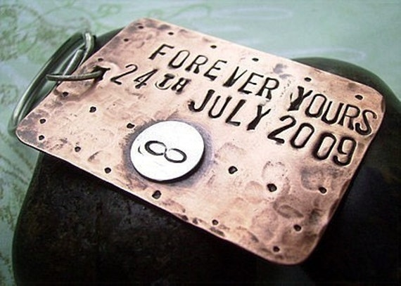 Forever - Hand Stamped Rustic Antiqued Copper and Sterling Silver Key Chain - Custom Personalized - Gr8 wedding or Anniversary gift