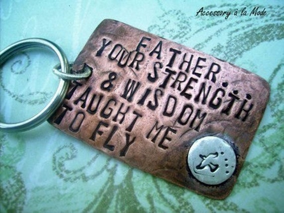 FATHER You Taught ME Hand Stamped Rustic Antiqued Copper - Key Chain - can be custom personalized