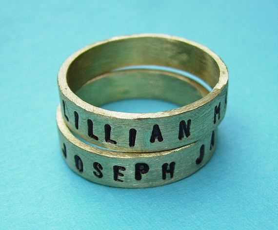 Antiqued Brass Ring - A Personalized Stamped Unisex Promise or Memory Ring sz 5-13 You Choose wording