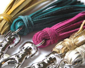 Leather Tassel Key Chain / Fob - Many Colors