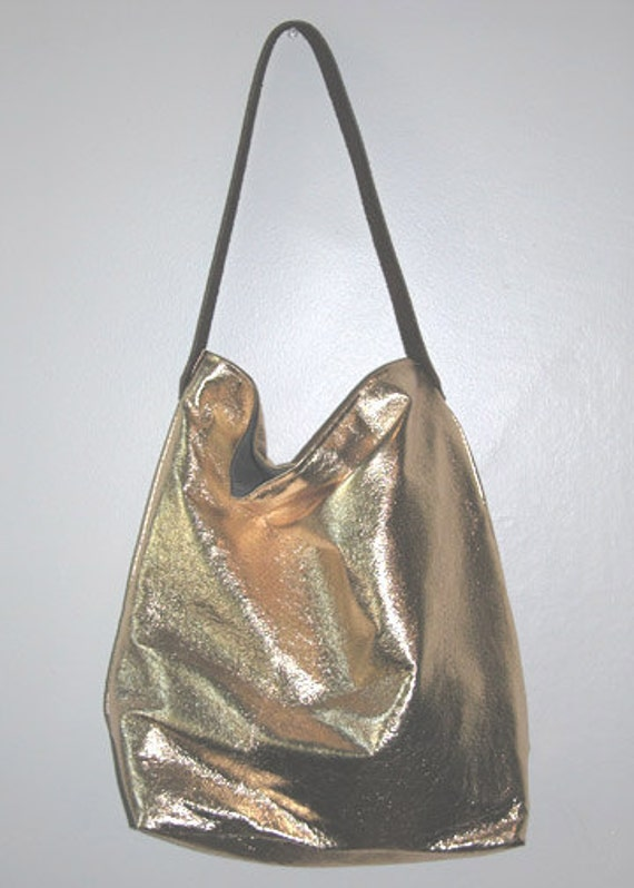 Gold Leather Tote Bag - CUSTOM LISTING for Kim