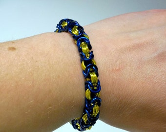 Blue & Yellow Byzantine Chainmaille Bracelet